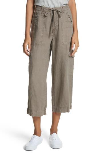 Joie Flaminia Drawstring Linen Crop Cargo Pants, Green