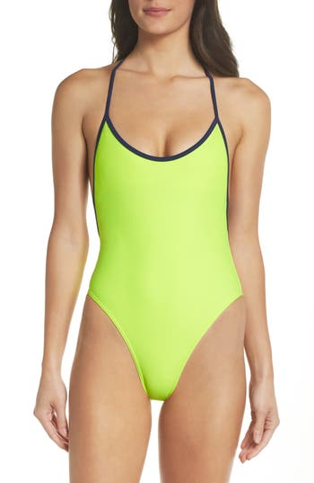 Plus Size Chromat T-Suit One-Piece Swimsuit, Yellow