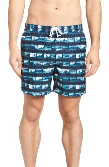 Original Penguin Surf Photo Board Shorts, Blue