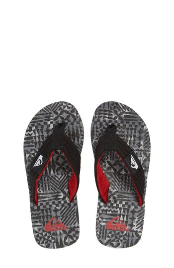 Boys Quiksilver Molokai Layback Flip Flop Size 7 M  Black