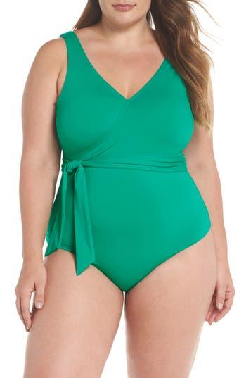 Plus Size Becca Etc Color Splash One-Piece Swimsuit, Green