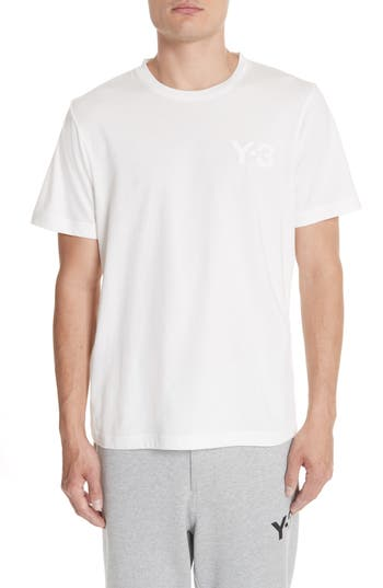 Men's Y-3 Logo T-Shirt, Size Medium - White