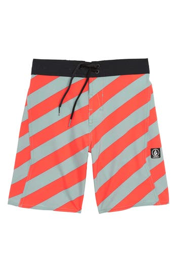 Boys Volcom Stripey Swim Trunks Size L  1416  Grey