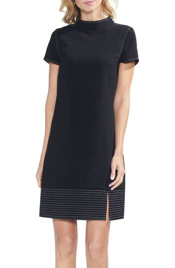 Women's Vince Caputo Trapunto Detail Mock Neck Minidress, Size XX-Small - Black