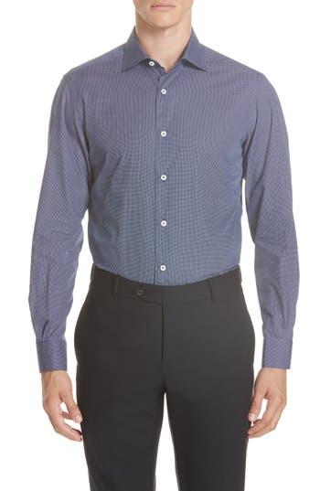 Men's Ermenegildo Zegna Classic Fit Check Sport Shirt, Size XX-Large - Blue