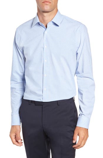 Nordstrom Men's Shop Tech-Smart Trim Fit Stretch Check Dress Shirt