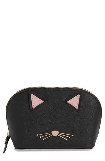 kate spade new york cats meow small abalene leather cosmetics case