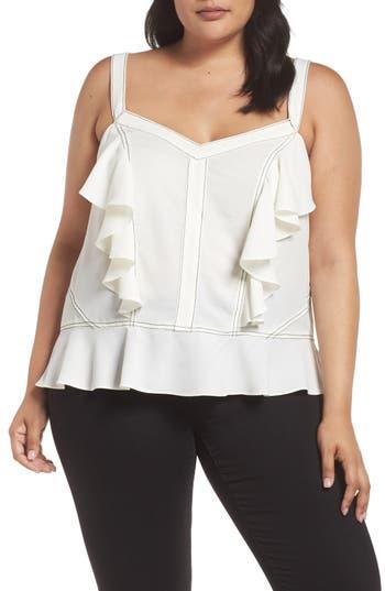 Plus Size Women's 1.state Contrast Stitch Ruffle Camisole, Size 1X - White