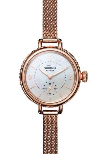 Shinola Birdy Mesh Bracelet Watch, 34mm