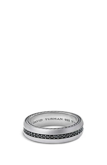 David Yurman Streamline Titanium & Black Diamond Pavé Band Ring