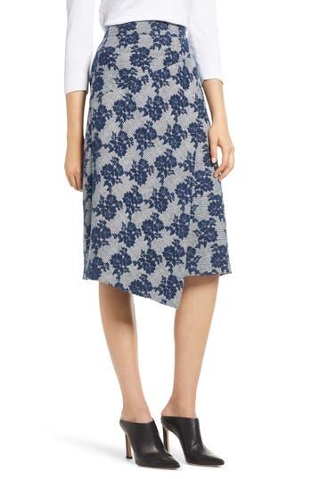 Halogen® Floral Plaid Asymmetrical Skirt