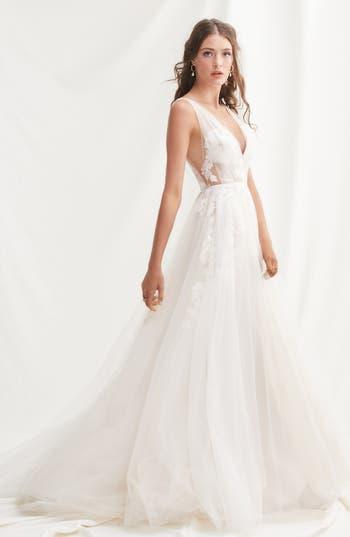 Willowby Lanie Floral Appliqué & Tulle A-Line Wedding Dress