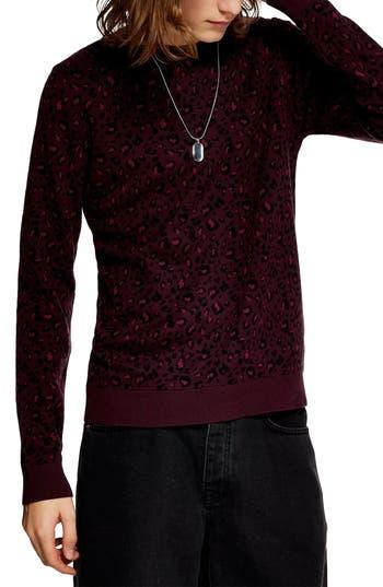 Topman Leopard Spot Crewneck Sweater