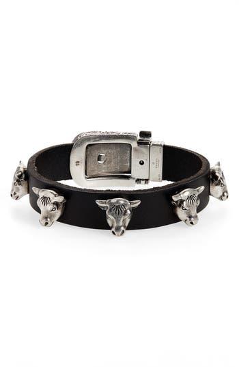Gucci Sterling Silver Stud Leather Bracelet