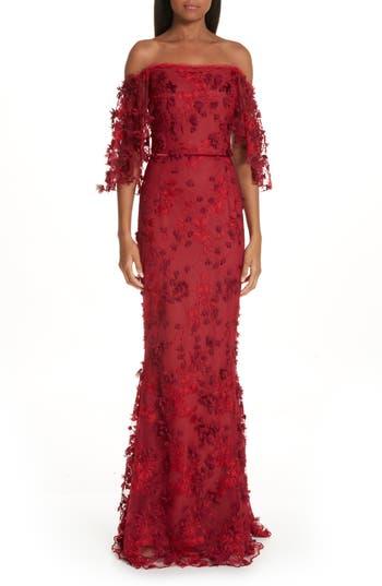 Marchesa Notte Flutter Sleeve Embroidered Column Gown