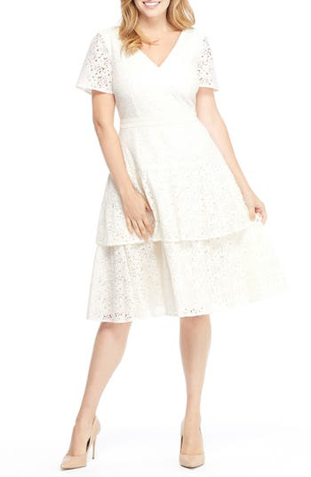 Gal Meets Glam Collection Doris Bow Back Tiered Skirt Lace Dress