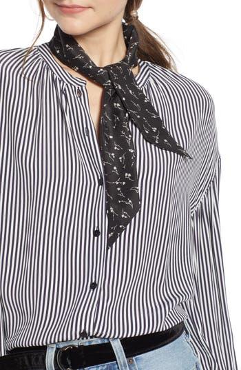 Something Navy Silk Skinny Scarf