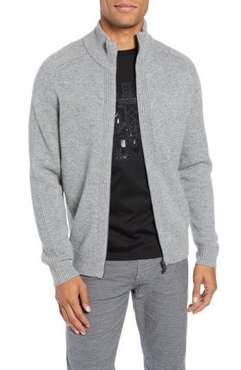 BOSS Erinaldo Regular Fit Virgin Wool Zip Cardigan