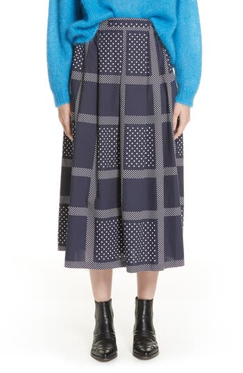 Roseanna Leylight Plaid & Polka Dot Midi Skirt