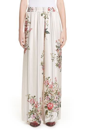 Roseanna Conner Floral & Stripe Wide Leg Silk Pants