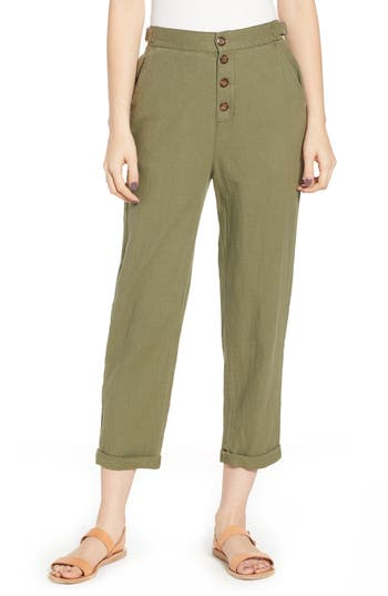 BP. Linen Blend Button Fly Pants