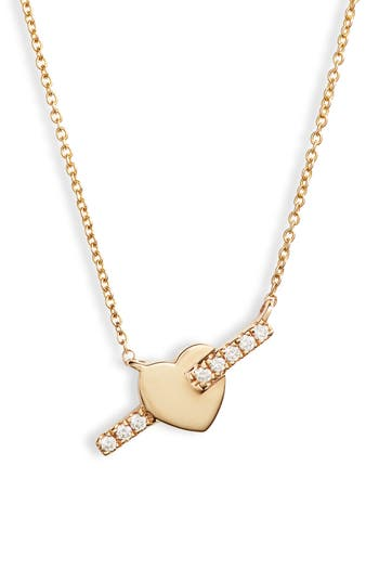 Dana Rebecca Livi Gold Heart Bar Diamond Necklace
