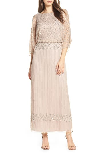 Pisarro Nights Diamond Motif Mesh Blouson Gown