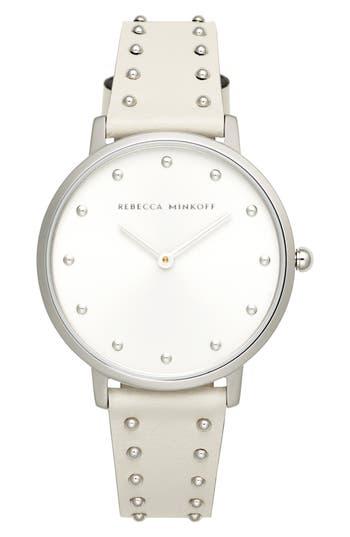 Rebecca Minkoff Major Stud Leather Strap Watch, 35mm
