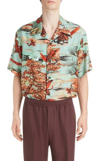 Givenchy Underwater Print Silk Camp Shirt