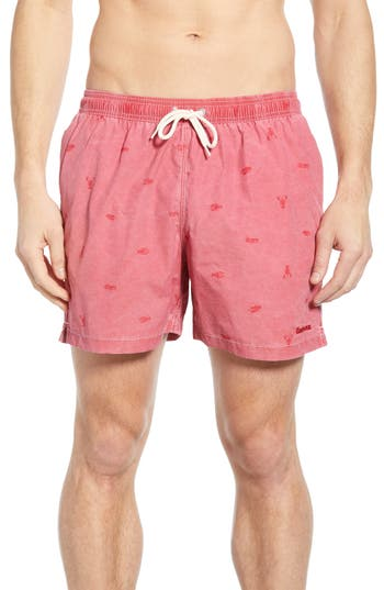Barbour Lobster Print Swim Trunks