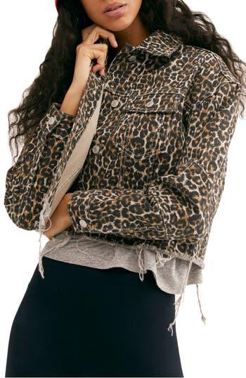 Free People Cheetah Print Crop Cutoff Denim Jacket