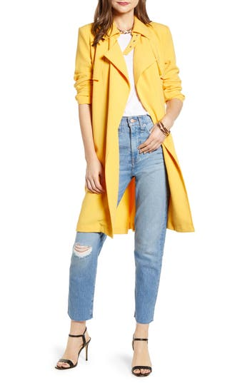 Something Navy Drapey Trench Coat (Nordstrom Exclusive)