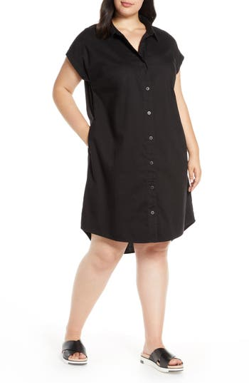 Eileen Fisher Button Front High/Low Organic Cotton Shirtdress (Plus Size)