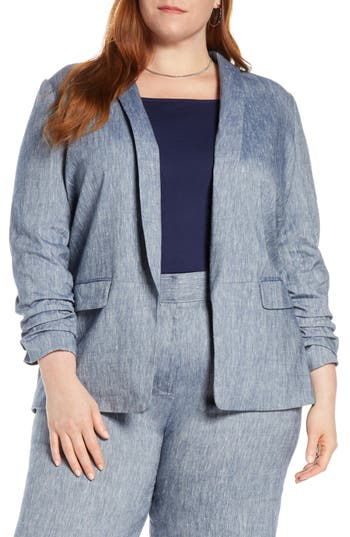 Halogen® Stretch Linen Blend Blazer (Plus Size)