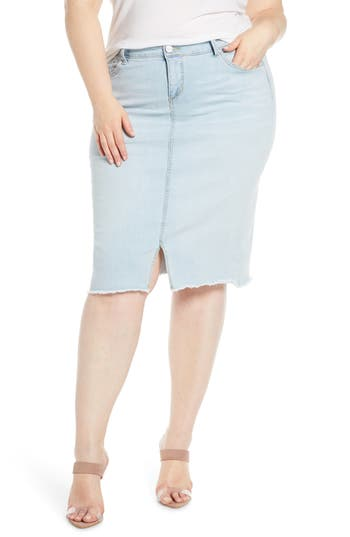 SLINK Jeans High Waist Denim Skirt (Plus Size)