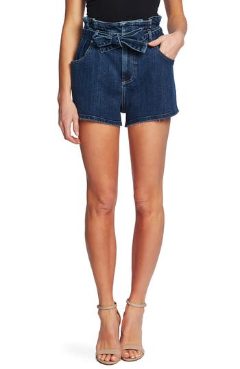 CeCe Paperbag Waist Denim Shorts (True Blue)