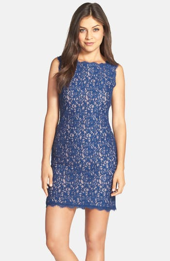 Adrianna Papell Boatneck Lace Sheath Dress, Blue
