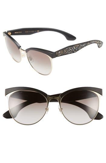 Miu Miu 5m Pave Cat Eye Sunglasses - Gold/ Black
