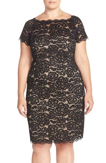 Plus Size Adrianna Papell Off The Shoulder Lace Sheath Dress