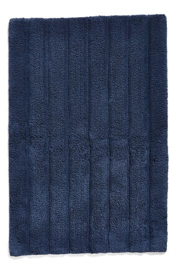 Nordstrom At Home Ribbed Velour Bath Rug, Size One Size - Blue