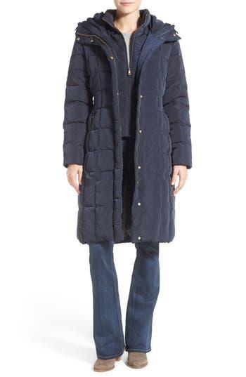 Cole Haan Bib Insert Down & Feather Fill Coat, Blue