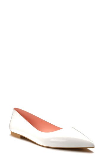Shoes Of Prey Pointy Toe Flat, White