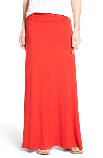 Bobeau Ruched Waist Side Slit Maxi Skirt, Red