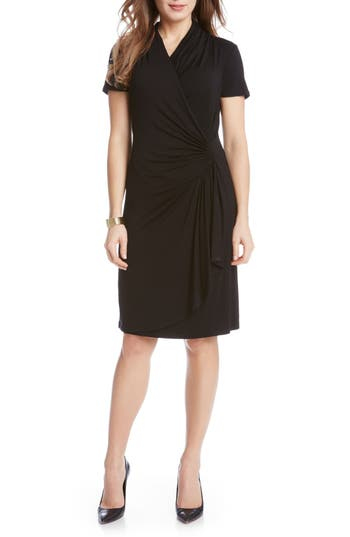 Women's Karen Kane Short Sleeve Cascade Faux Wrap Dress