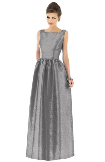 Alfred Sung Square Neck Dupioni Full Length Dress, Metallic