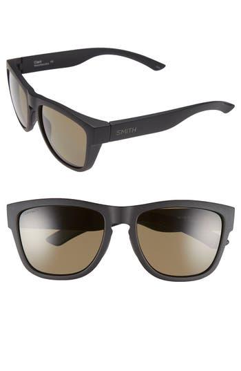 Women's Smith 'Clark' 54Mm Polarized Sunglasses - Matte Black/ Polar Grey Green