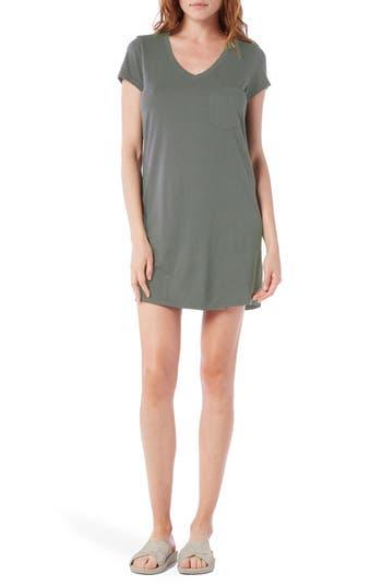 Petite Michael Stars V-Neck Jersey Minidress, Green