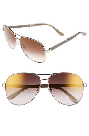 Women's Jimmy Choo 'Lexie' 61Mm Aviator Sunglasses - Light Gold