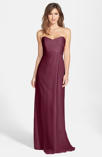 Amsale Strapless Crinkle Chiffon Gown, Red