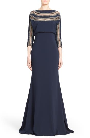 Badgley Mischka Couture Embellished Blouson Column Gown